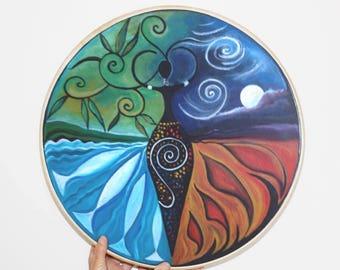 Shamanic Drum - Goddess of the Elements. Spiritual Art