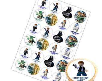 Personalised Starwars Cake Toppers with Any Name & Happy Birthday