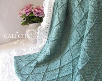 Knitting Blanket PATTERN - Paris - Knit Baby Blanket PATTERN 63  - Instant Download PDF Pattern