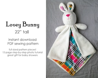 Bunny Lovey Baby Blanket, Security Blanket sewing pattern, PDF, A4 or letter