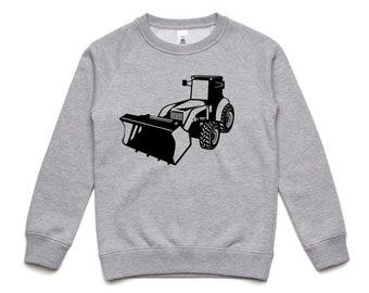 Kids Digger Sweatshirt, Children Winter Sweatshirt, Digger Print Top, Toddler Gift, Boys Gift, Kids Winter Top