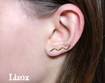 Gold plated over Sterling Silver Zig zag Ear Cuff - Ear Climbers, Ear Sweeps, Gold Ear Crawlers, Gold Wave Ear Climber, Ear Jacket crawler