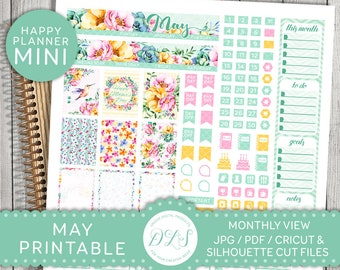 May Planner Kit, May Mini Happy Planner, May Printable Stickers, May Monthly Kit, Floral Planner, Cricut, Silhouette, Mambi PDF, MM108