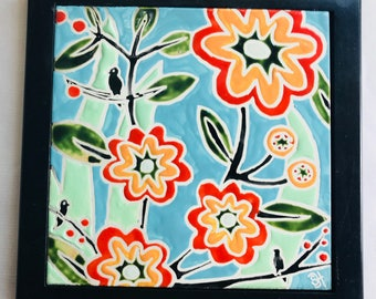 Tile/Trivet-Orange Flower Tile/Trivet
