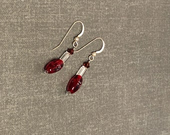 Red  Earrings, Silver Post, Crystal Beads, Dangling, Clearance Sale, Item No. S131