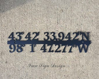 Custom Coordinates Sign Home Decor, Iron Anniversary GPS gift Make your own GPS coordinates in metal