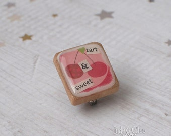 Cherry Scrabble Brooch, tart & sweet, Handmade Scrabble Scarf/Lapel Pin, Wood Tile Brooch, Cherry Pin, Cherry Jewelry, Cherry Pie Day