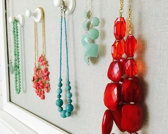 Necklace & Jewelry Organizer: Magnetic pegs, Wooden and painted white - super strong! Use your Own Magnet Board or See the One I Designed!