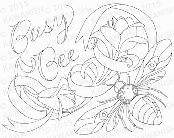 busy bee adult coloring page gift wall art funny humor