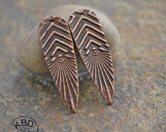 Handmade Copper Chevron Shard Component pair