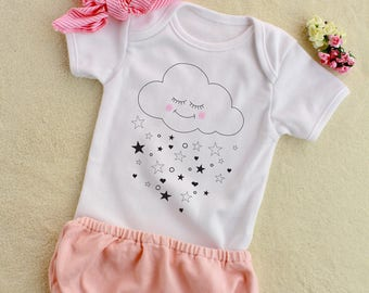 Rain of Stars Baby Onesie, Baby Bodysuit, Baby Girl Onesie, Newborn Outfit, Baby Shower Gift, Cute Baby Clothes, Coming Home Outfit