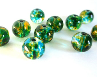 10 transparent beads, rust and blue 8mm round glass