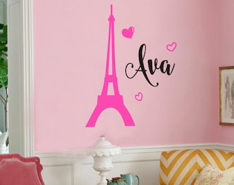 Personalized Eiffel tower vinyl wall decal - girls name custom Paris wall decal - Paris Eiffel tower monogram wall decal