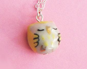 Sleepy Yellow Owl Necklace - Ceramic / Glass Owl  (R3A)