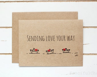 Sending Love your way Paper Boats Hearts Hand-made Stationary Cards Valentine's Day