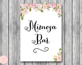 Mimosa Bar Sign, Bubbly Bar Sign, Wedding Bar Sign, Printable Sign, Wedding Decoration Sign, Bridal Shower Decoration, Engagement wd67 TH13