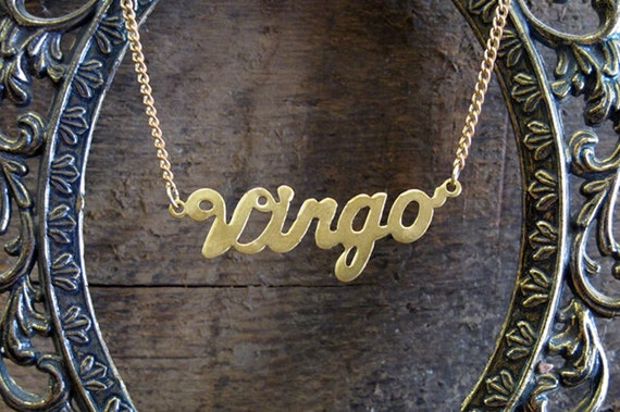 Virgo Astrological Sign Brass Necklace