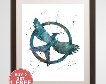 Mockingjay Logo, The Hunger Games watercolor, home arts, decor, cartoon kids children Illustration, Gift, Movie YC162