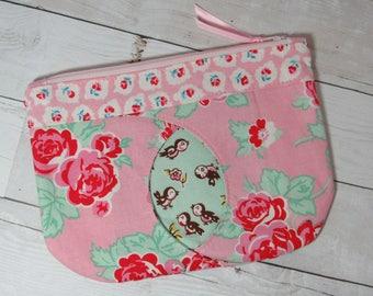 "Floral / Birds Clutch / Purse with Peekaboo ""Cat Eye"", Pouch, Zipper Bag, Cosmetics Bag, Pink, Red, Green, Roses, Bird, Flowers, Spring"