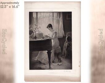 The Old Song by Percy Moran Antique Photogravure Print Goupil Vintage Paper Ephemera zyxG25