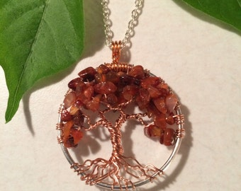 Orange Carnelian Necklace Wire Wrapped Tree Of Life Pendant Semi Precious Gemstone Jewelry