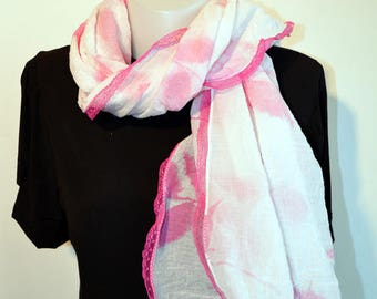 white scarf with pink lace