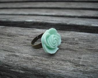mint green flower cabochon ring - antique brass