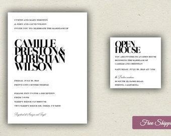 Bold Type Wedding Invitation Set Printed