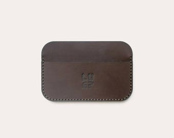 Minimalist card holder Brown vegetable tanned leather