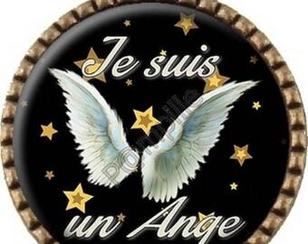 Bronze pendant Cabochon - Angel wings (572) digital image