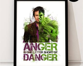 The Incredible Hulk Art Print, Bruce Banner Marvel Superhero Inspired, Quote, Avengers Art, Civil War, Infinity war, Hulk Poster, Ragnarok
