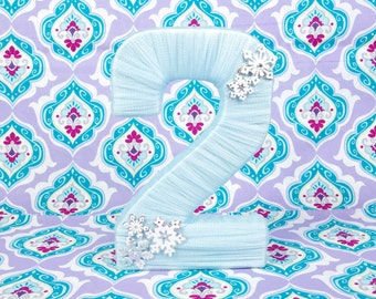 FROZEN Light Blue Tulle Wrapped Number for Winter Themed Birthday - Snowflake Decor