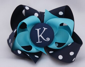 Navy and Turquoise Monogrammed Button Hair Bow