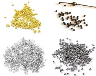 400 crimps tubes bronze, gold or silver - 1.5 mm