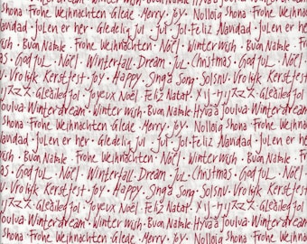 Holiday Text on White from Winterfall by Lecien Fabrics