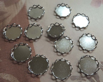 9mm round silvertone closed back lace edge cup settings 12 pcs lot l