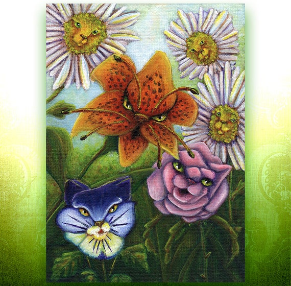 Catty Flowers 5x7 Fine Art Print