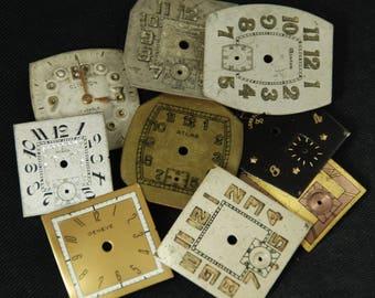 Vintage Antique Watch Dials Steampunk  Faces Parts Mixed Media Assemblage Scrapbooking LR 40