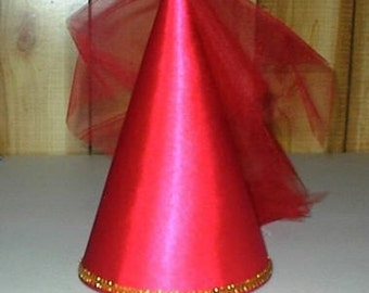 Cute Red Satin Princess Renaissance Damsel Medieval Cone Hat