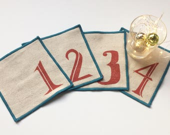 Ships free in US! Numbered Cocktail Napkin Set of Four, Handmade in Seattle, 100% cotton cloth coaster, Bar Accessory