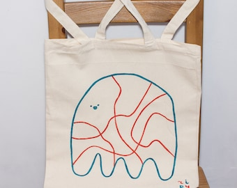 ghost tote (hand-paint)