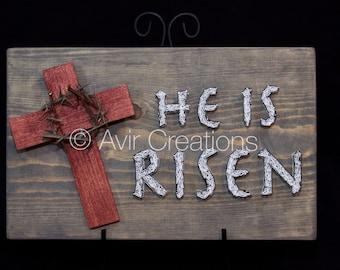 He is Risen Cross & Crown of Thorns String Art