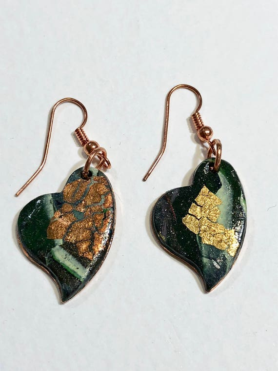 SJC10041 - Earrings - multi color contemporary handmade polymer clay on heart shaped copper piece with copper ear wire