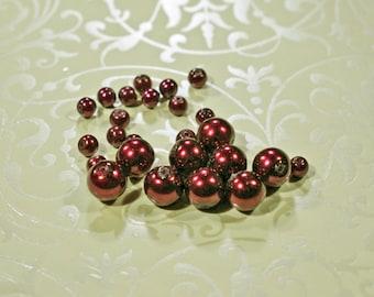 Burgundy Glass Pearls, 3 sizes, #1223/1224/1225