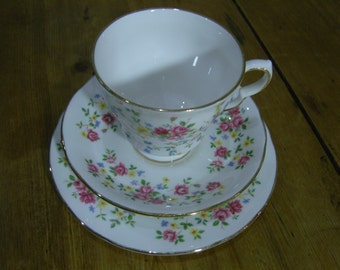 Queen Anne Country Bouquet Cup, Saucer and Plate Trio