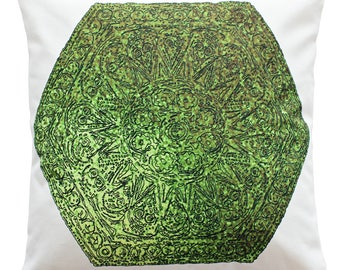 Decorative Cushion Cover Hexagon with Green Ornaments Handmade in Ireland, Double-Sided Print, 18
