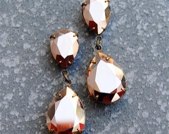 Rose Gold Earrings,Rose Gold Bride,Rose Gold Bridal,Swarovski Crystal Metallic Hourglass Dangles,Clip On Stud Post, Bride,Wedding,Bridesmaid