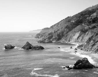 California Photography, Black and White Ocean Print, Pacific Coast, Big Sur, Pacific Ocean, Landscape, Home Decor, Fine Art Print, Wall Art