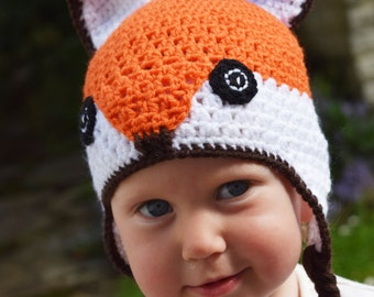 Handmade Crochet Fox hat, Girls hat, Character Hat, Animal hat