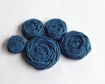 Smoky Blue Fabric Rosettes Embellishment